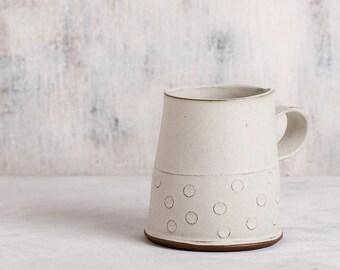 Ceramic Tea Cup, Modern Tea mug, White cetamic cup, White Coffee Mug in polka dots Pattern , textured coffee cup,  Holidays gift