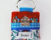 House keyring - new home - first home gift - home - house warming gift - felt keyring - hand sewn gifts