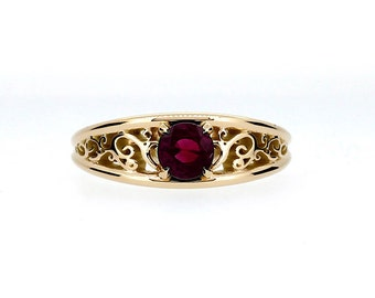 filigree celui engagement ring with ruby yellow gold rose gold white gold - Ruby Wedding Ring