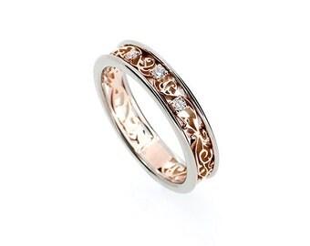 Two tone filigree ring, rose gold, white gold, diamond engagement ring, diamond engagement ring, filigree wedding band, custom, anniversary