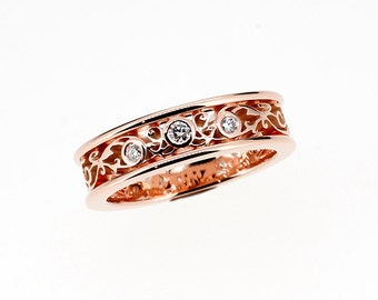 Rose gold filigree ring with diamonds, engagement ring, wedding band, unique filigree ring, diamond engagement, anniversary, vintage style