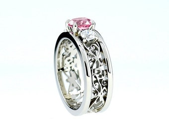 Pink tourmaline and diamond filigree engagement ring, wide filigree band, white gold, pink engagement, unique, tourmaline trinity, custom