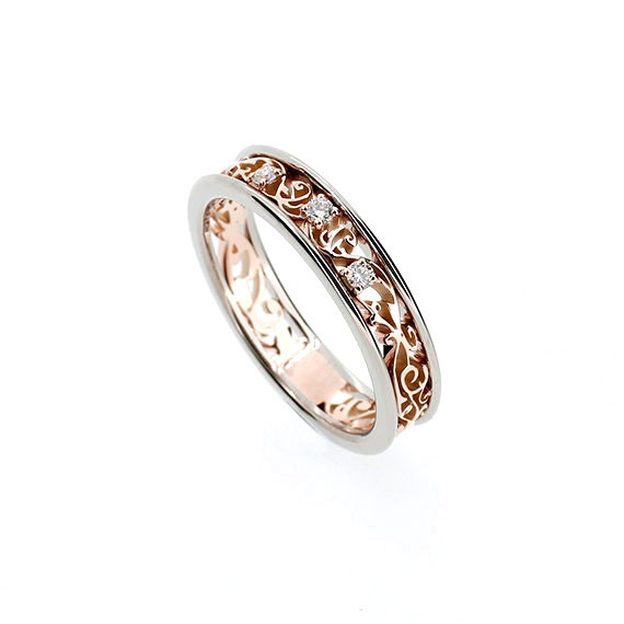 Two tone filigree ring rose gold white gold diamond