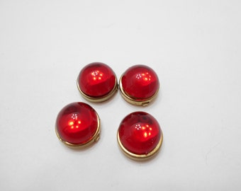 Four Vintage Red Cabochon Button Covers (8325)