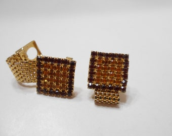 Vintage Amber Rhinestone Cuff Links (842)