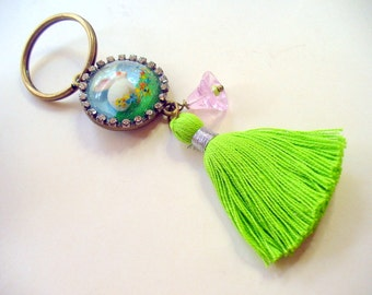 Bunny with Rhinestones Keychain, White Bunny Keychain, Lime Green Tassel Key Chain, Key Fob, Purse Accessory, Key Holder, Real Dry Flowers