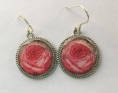 Rose Earrings Pink 3D Dimensional Picture Jewelry Bright Silver Round