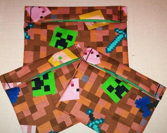 set of 3 RARE , 2 reusable snack bags, 1 sandwich bag, minecraft, reusable goods, eco friendly, snack bags, sandwich bag, minecraft steve