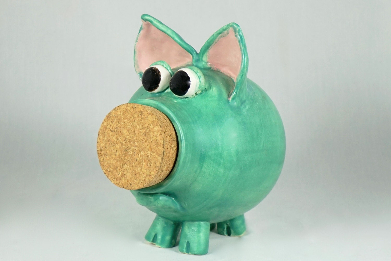Handmade ceramic piggy bank hand thrown stoneware pottery for Handmade coin bank