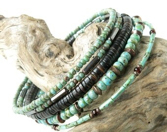 Beaded bracelet stack - turquoise brown & copper stacking bangles