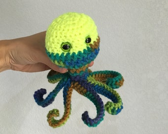 Multi-colored Monster Alien with tentacles crochet stuffed toy colorful alien monster crochet doll silly monster