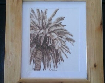 Woodburn Palm Tree BURNED on paper pyrography wall art original framed fine art