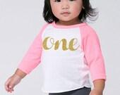 Baby's First Birthday 'One' Poly Cotton 3/4 Raglan Sleeve Baseball Shirt