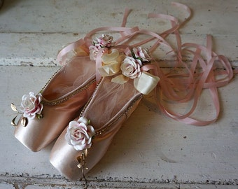 Decorated ballet pointe shoes soft pink shabby cottage chic embellished ornate slippers rhinestones ribbon roses decor anita spero design