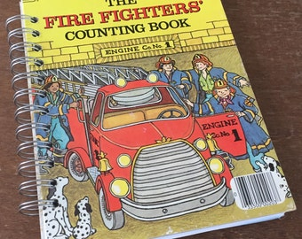 Vintage The Fire Fighters Counting Book Little Golden Book Recycled Journal Notebook
