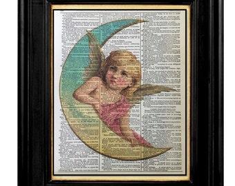 Angel of the Moon, Vintage Angel Prints, Pink Cherub Angel Prints, 8x10 Vintage Dictionary Page Art Print, Dictionary Print, Affiramtions