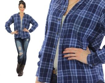 Blue plaid shirt 1990s Grunge flannel long sleeve navy oversize Lumberjack button up retro Small