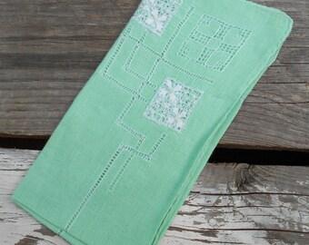 1930s ladies hankie vintage handkerchief in deep sea green Free USA Shipping
