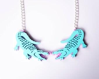Alligator Necklace. Crocodile Statement Necklace. Pastel Florida Gator Pendant. Gift for her. Festival Fashion.