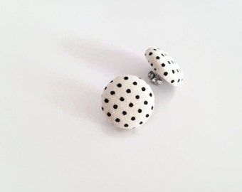 Black and white polka dot earrings - Retro studs monochrome neutral - Fabric covered button jewelry eco-friendly - Button earrings retro