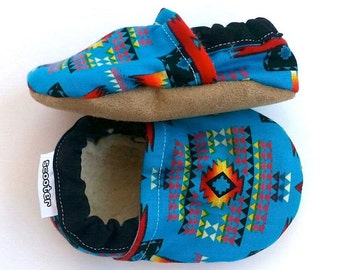 SALE - LAST PAIR!! - baby aztec shoes toddler shoes blue and black shoes soft sole shoes toddler slippers aztec slippers shoes with aztec