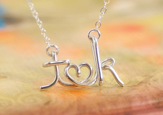 Couples Necklace, Initial Necklace, Love Necklace, Gift For Bride, Personalized Initial Necklace, Valentine's Day Gift, Name Necklace