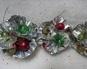 Vintage Christmas Ornaments, Mercury Glass Bead Foil Ornaments