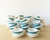 Vintage Pyrex Corning Decor Cups & Monkey Dishes Fruit Bowls Blue Turquoise Laurel Leaf Set of Six Cups and Six Bowls