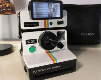 Vintage Polaroid 1000 Rainbow Land Camera Sx-70 type instant film with Flash Polatronic 1 and Original Soft Polaroid Case