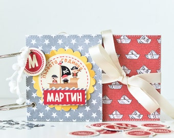 Mini Album For Baby Boy, Month-by-Month Baby Memory Album, Firts Year Baby Boy Album, Name Personalised Mini Album With Pirates, Baby Gift