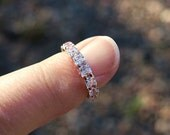 Vintage Rose Gold Over Sterling Silver and CZ Eternity Ring