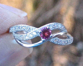 SALE Vintage 925 Sterling Silver Ruby CZ Ring