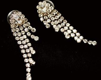 Rhinestone Earrings - Dangle chandelier -Pierced  - Wedding Bride - formal Prom - Bling