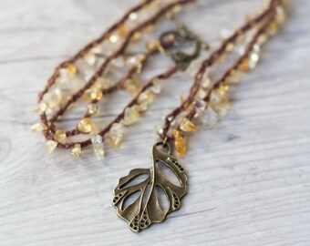 Brown crochet necklace with citrine and brass leaf Beaded necklace Layering necklace