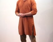 80s Cotton Unisex Tunic, Indian Tunic, Orange Striped Handwoven Tunic, Woven in India FabIndia Tunic With Wooden Buttons, Size M