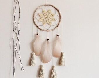 Bohemian dreamcatcher, floral dream catcher, wall hanging, bedroom decor, powder, brown, cream, unique, handmade, medium, home decor