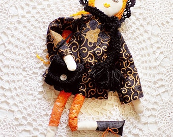 Textile doll, boho girl, rag doll, nursery decor, stuffed toy, handmade, handcrafted doll, boho decor, girls room, orange, black, fall, moon