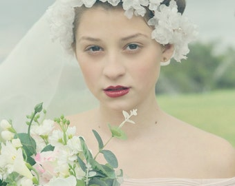 Wedding silk flower crown, Silk flower headpiece, Bridal hair accessories, Flower crown, Pearl flower crown Bridal headpiece Almond garden