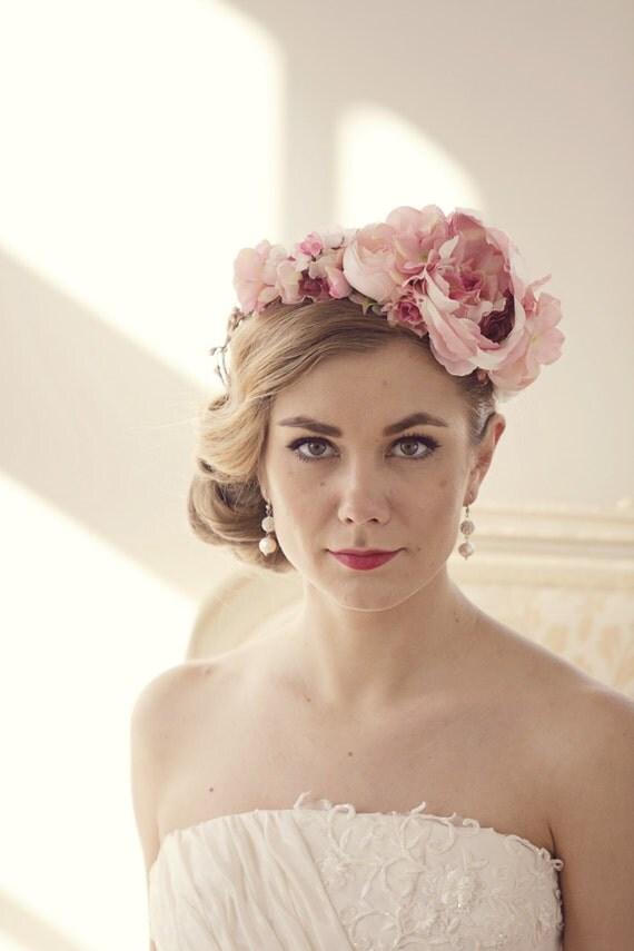 Wedding Flower Crown Suppliers : Pink flower crown bridal floral headband