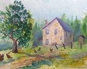 Chicken Art, Barnyard, Farm Scene, Watercolor, Chicken Painting, Farmyard, Rural, Rustic, Pasture, Farmhouse, Watercolor Sketch, Study