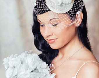 Cream Bridal Fascinator with Silk Flowers and Birdcage Veil - White Bridal Fascinator - Ivory Wedding Hat