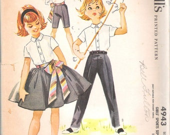 "Vintage 1959 McCall's 4943 Girls' Sports Separates Designed By Helen Lee  Sewing Pattern Size 10 Bust 28"" UNCUT"