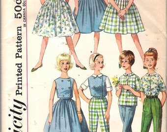 Vintage 1962 Simplicity 4540 Sub-Teen Skirt, Blouse, Top & Pants (Weekend Wardrobe) Sewing Pattern Size 10s Breast 29""