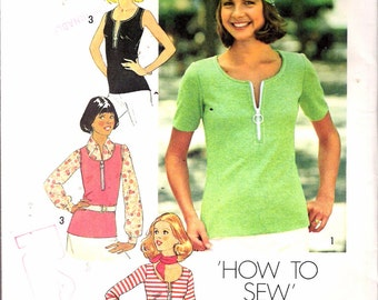 "Vintage 1975 Simplicity 7293 Misses Tops For Stretch Knits Only Sewing Pattern Size Medium 12 - 14 Bust 34"" - 36"" UNCUT"