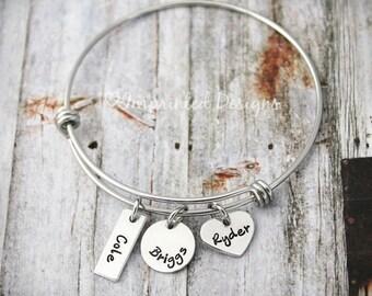 Charm Bracelet - Mother Bracelet - Personalized - Wire Bangle- Adjustable - Birthstone - 3 Kids - Mother's Day - Grandmother - Hand Stamped
