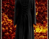 Princess of Darkness Long coat, corset lacing, pixie hood,Goth, alt fashion, Vampire,