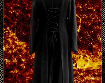 Princess of Darkness Long coat, corset lacing, pixie hood,Goth, alt fashion, Vampire,