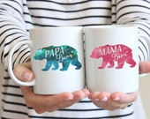 Papa Bear and Mama Bear Coffee Mugs Husband and Wife Gift Set Anniversary Gift for Mom and Dad Baby Shower Gift for New Parents  two mug set