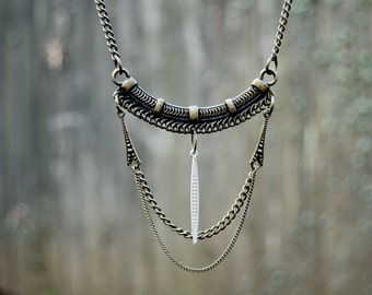 Bronze Queen Statement Necklace- bronze tribal bib necklace with chain and ceramic point