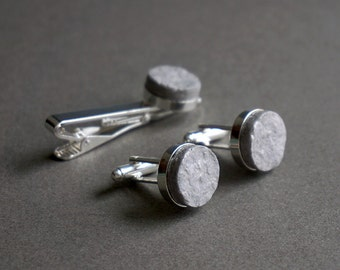 1st year anniversary gift for husband - Recycled paper cufflinks and tie clip set